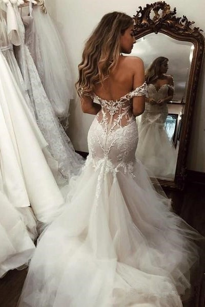 Sexy Mermaid Off The Shoulder See Through Back Lace Tulle Wedding Dress Bridal Gown