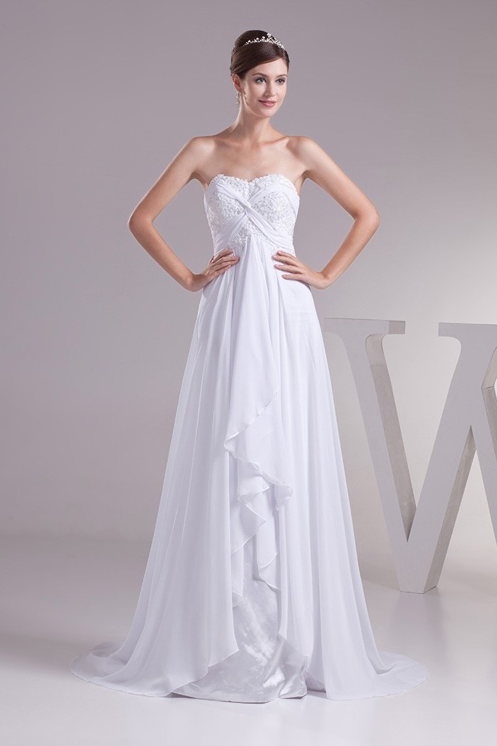 Empire Sweetheart Corset Beaded Appliques Ruched White Chiffon Wedding Dress