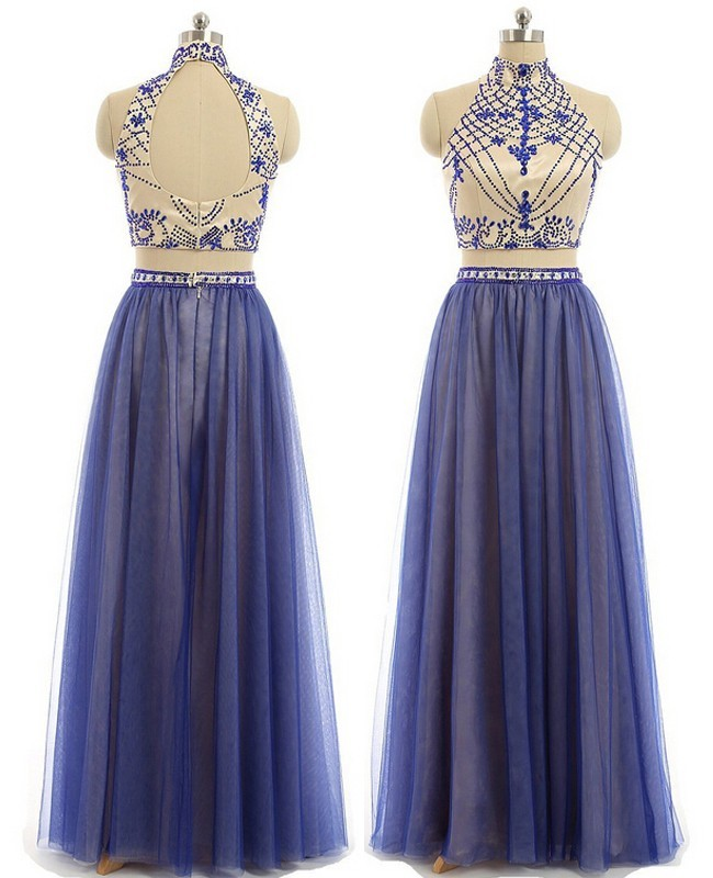A Line High Neck Two Piece Nude Satin Royal Blue Tulle ...