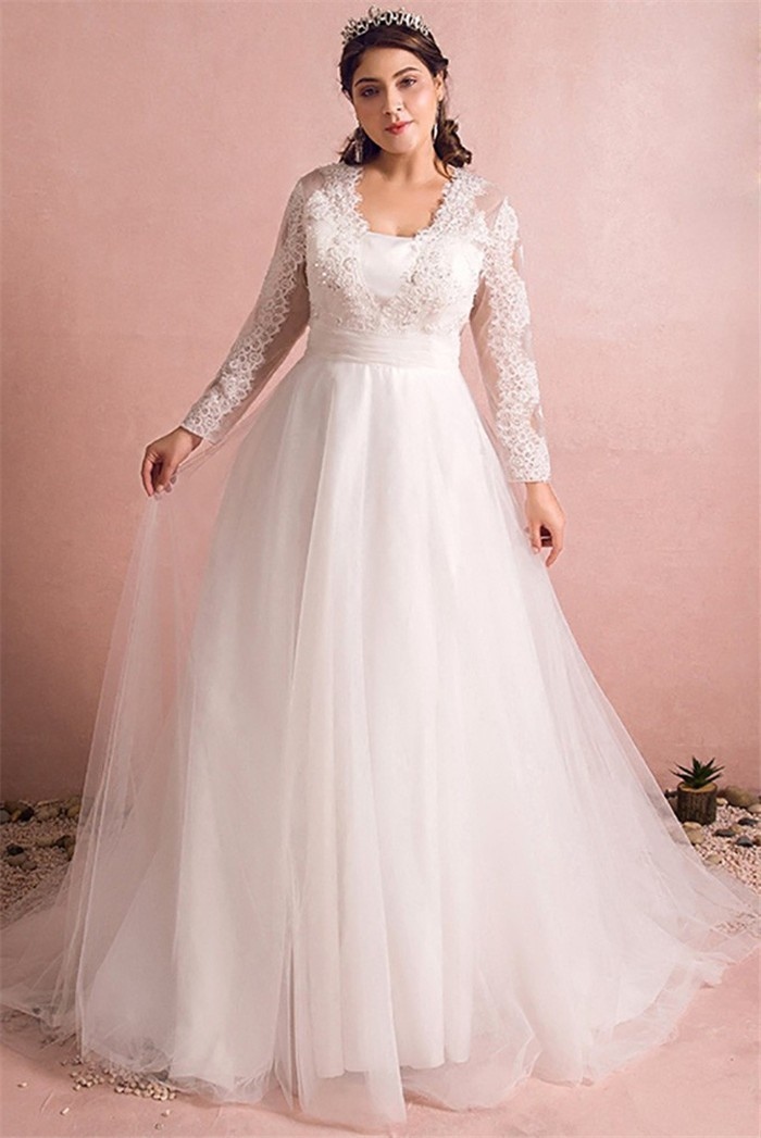 A Line Long Sleeve Tulle Lace Plus Size Wedding Dress With Buttons,Wedding Dresses For Mother