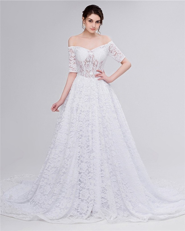 A Line Off The Shoulder Corset Back Lace Wedding Dress With Short Sleeves