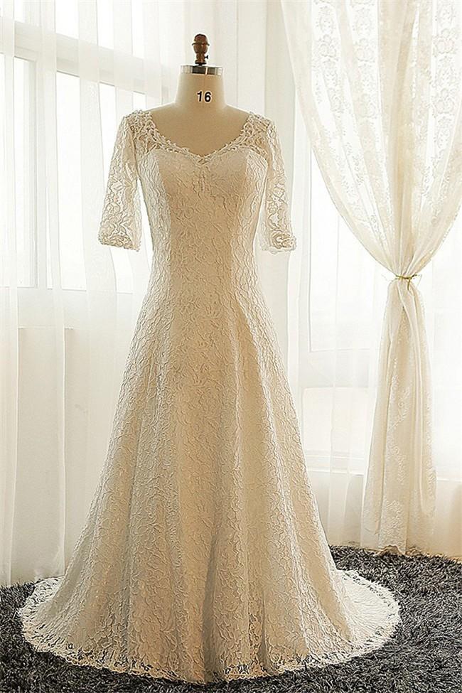A Line V Neck Vintage Lace Sleeve Plus Size Wedding Dress Corset Back,Wedding Dresses For Mother