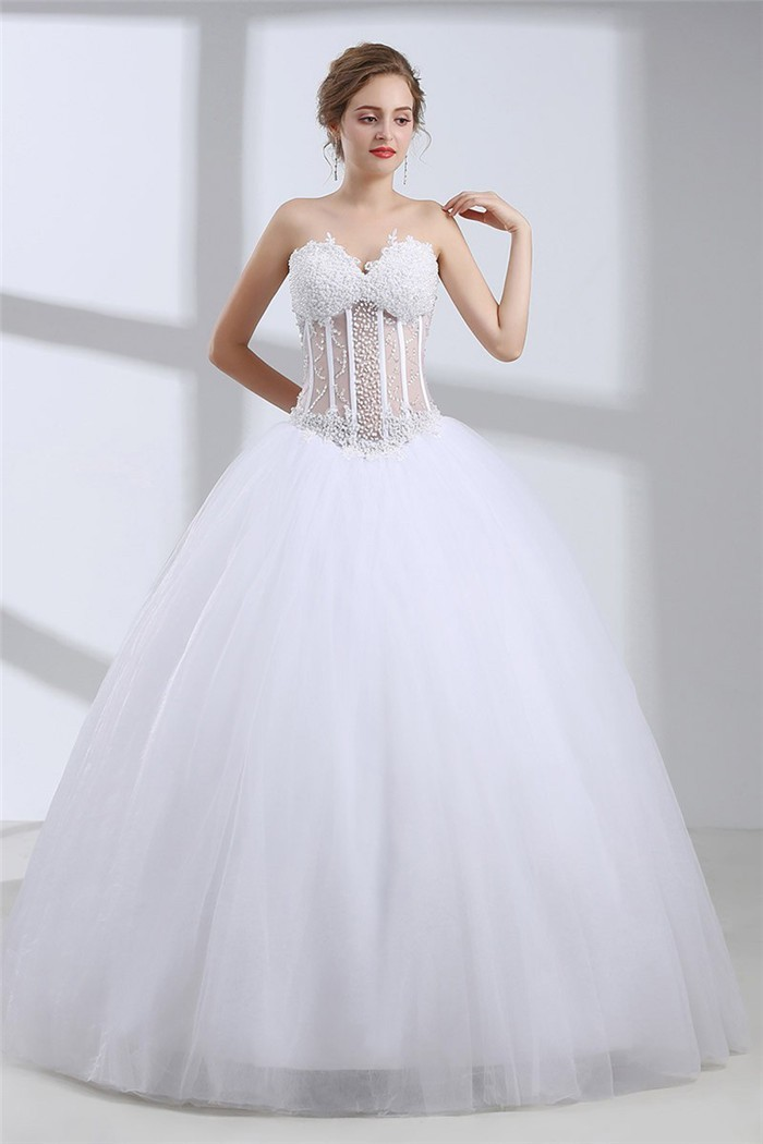 Ball Gown Sweetheart See Through Tulle Beaded Floor Length Wedding Dress Without Train