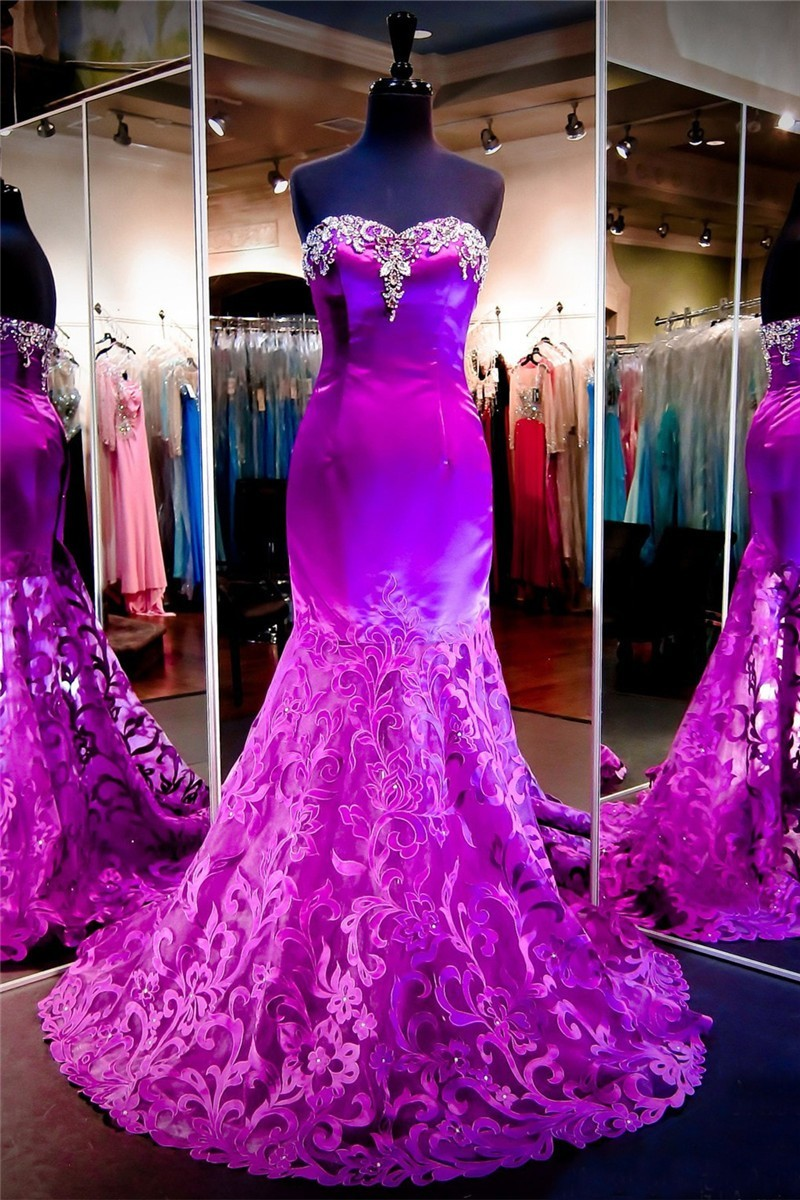 Beautiful Mermaid Strapless Purple Satin Lace Prom Dress