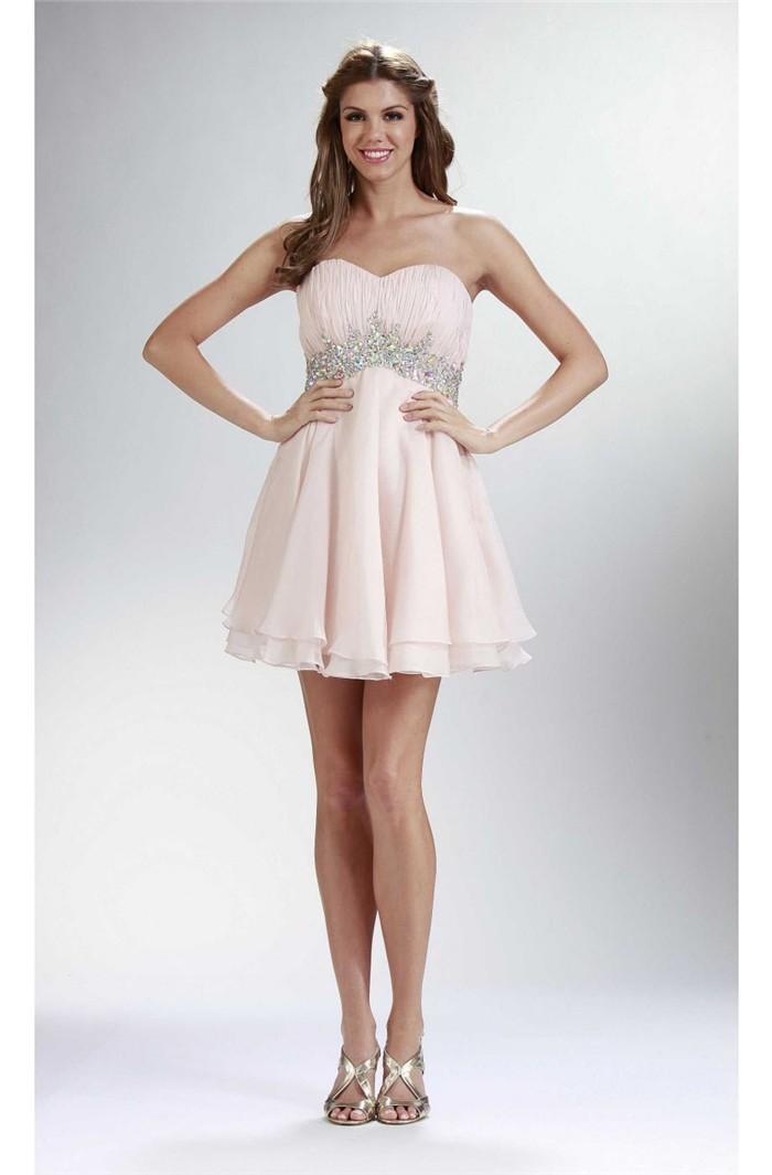 Elegant Strapless Empire Waist Short Blush Pink Chiffon ...