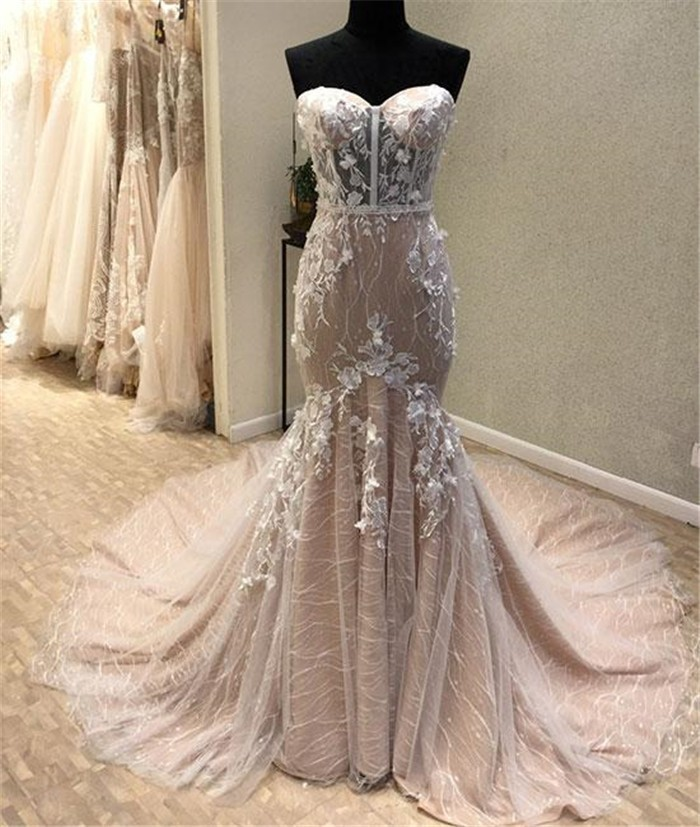 Fantastic Mermaid Sweetheart Champagne Lace See Through Wedding Dress