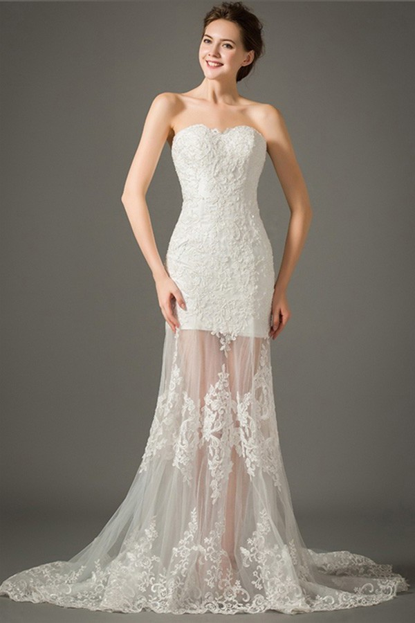 Fitted Sweetheart Sheer Skirt Outdoor Lace Wedding Dress With Detachable Straps,Lace Black Women Wedding Dresses