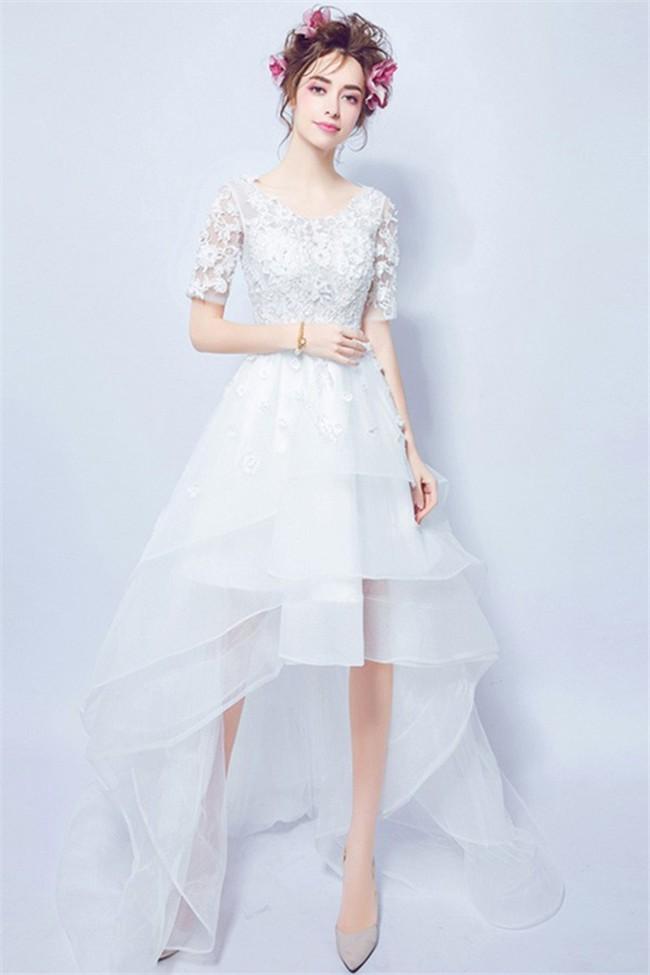 High Low Short Lace Sleeve Organza Ruffle Outdoor Beach Wedding Dress Corset Back