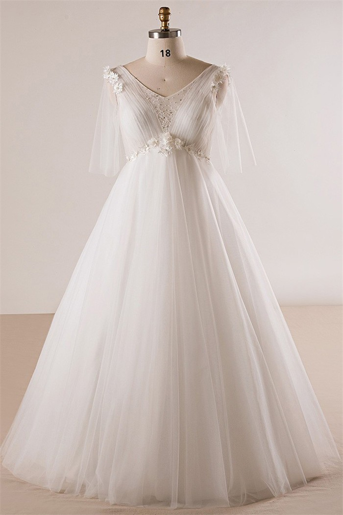 Princess V Neck Empire Waist Tulle Sleeve Plus Size Wedding Dress No Train,Country Wedding Dresses For Mother Of The Groom