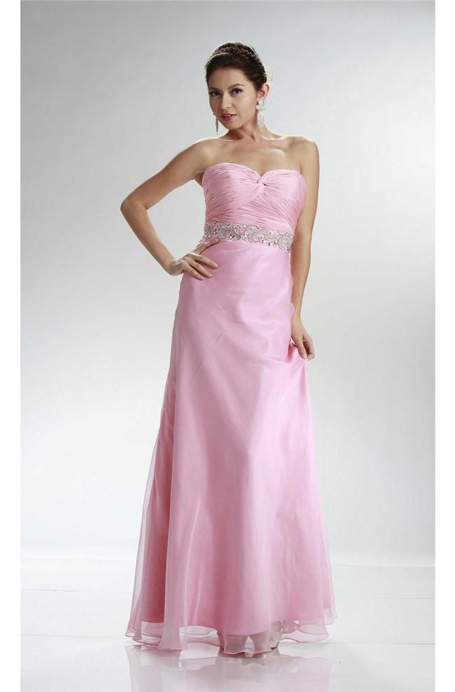 Sheath Sweetheart Long Light Pink Chiffon Ruched Prom ...