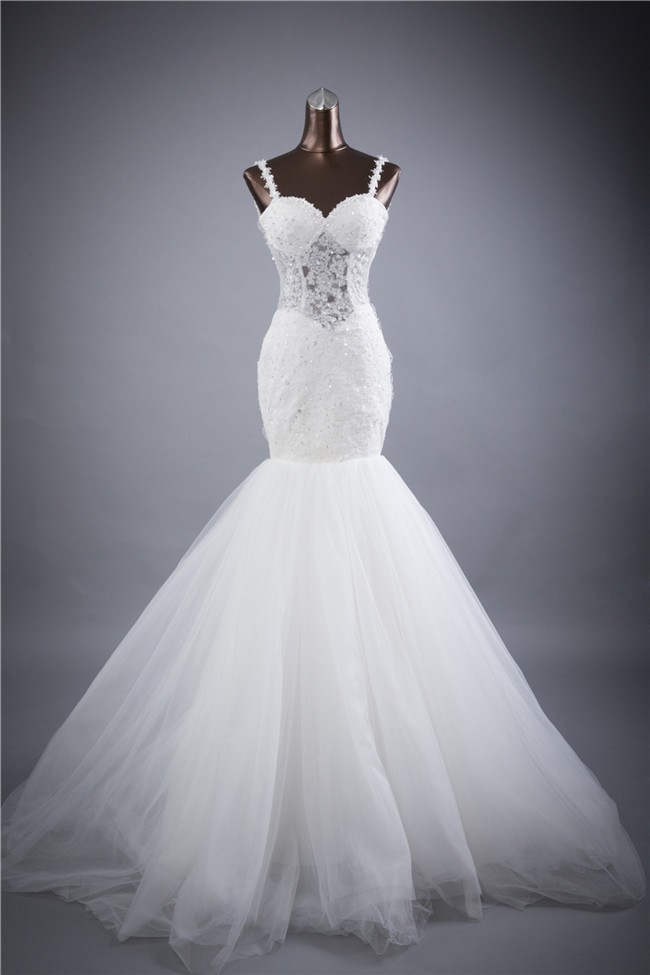 Trumpet Mermaid Sweetheart Backless Lace Tulle Wedding Dress With Straps