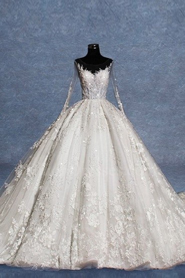 Ball Gown Illusion Neckline Low Back Long Sleeves Crystal Beaded Lace Tulle Wedding Dress