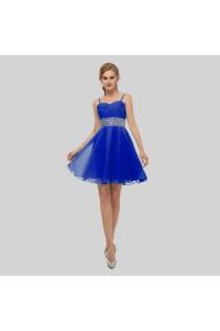 Elegant Short Mini A Line Sweetheart Spaghetti Straps Crystal Beaded Royal Blue Chiffon Prom Cocktail Dress