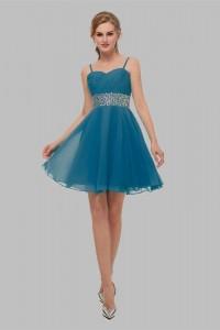 Elegant Short Mini A Line Sweetheart Spaghetti Straps Crystal Beaded Teal Chiffon Prom Cocktail Dress