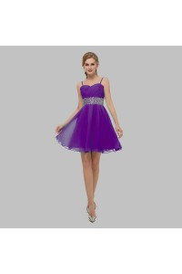 Elegant Short Mini A Line Sweetheart Spaghetti Straps Crystal Beaded Purple Chiffon Prom Cocktail Dress