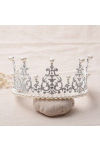 Shinning Swarovski Crystal Wedding Bridal Tiara Crown With Pearls