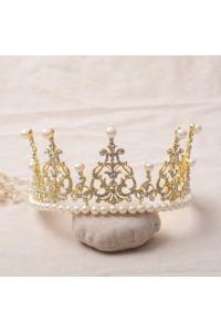 Shinning Swarovski Crystal Gold Wedding Bridal Tiara Crown With Pearls