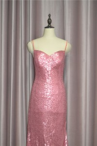 Sparkly Sheath Sequined Pink Prom Evening Dress Sweetheart With Straps