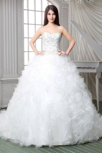 Royal Ball Gown Strapless Satin Embroidery Organza Ruffle Corset Wedding Dress Chapel Train