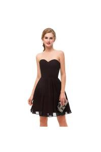 Elegant Short Mini A Line Sweetheart Pleated Chiffon Prom Cocktail Dress