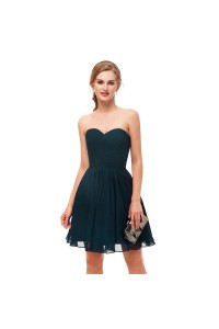 Elegant Short Mini A Line Sweetheart Pleated Teal Prom Cocktail Dress