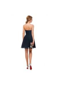 Elegant Short Mini A Line Sweetheart Pleated Navy Blue Prom Cocktail Dress