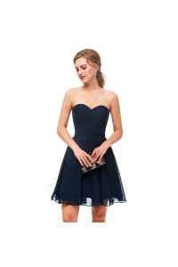 Elegant Short Mini A Line Sweetheart Pleated Navy Blue Prom Cocktail Dress