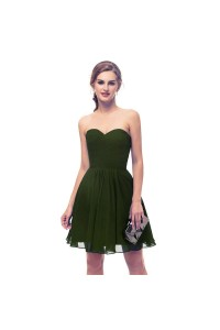 Elegant Short Mini A Line Sweetheart Pleated Olive Green Prom Cocktail Dress