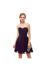 Elegant Short Mini A Line Sweetheart Pleated Purple Prom Cocktail Dress