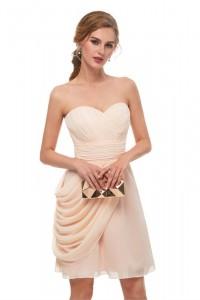 Elegant Short Mini A Line Sweetheart Pleated Peach Chiffon Prom Cocktail Dress
