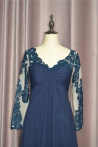 Elegant A Line Ruched Navy Blue Prom Evening Dress V Neck Long Lace Sleeves