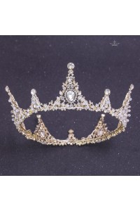 Royal Alloy Crystal Wedding Bridal Tiara Crown With Pearls