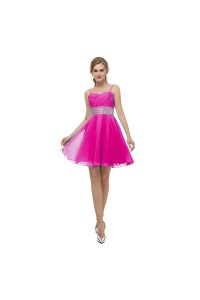 Elegant Short Mini A Line Sweetheart Spaghetti Straps Crystal Beaded Fuchsia Chiffon Prom Cocktail Dress
