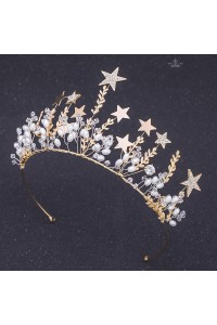 Sparkly Alloy Crystal Gold Wedding Bridal Prom Tiara Crown With Pearls Stars