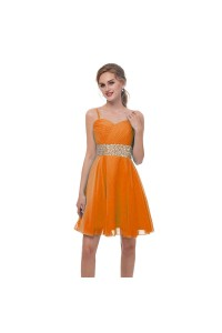 Elegant Short Mini A Line Sweetheart Spaghetti Straps Crystal Beaded Orange Chiffon Prom Cocktail Dress
