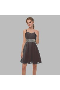 Elegant Short Mini A Line Sweetheart Spaghetti Straps Crystal Beaded Brown Chiffon Prom Cocktail Dress