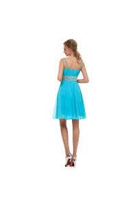 Elegant Short Mini A Line Sweetheart Spaghetti Straps Crystal Beaded Blue Chiffon Prom Cocktail Dress