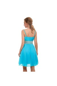 Elegant Short Mini A Line Sweetheart Spaghetti Straps Crystal Beaded Blue Prom Cocktail Dress