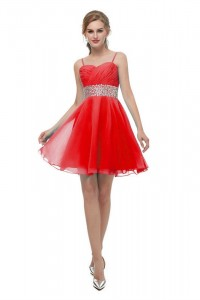 Elegant Short Mini A Line Sweetheart Spaghetti Straps Crystal Beaded Red Chiffon Prom Cocktail Dress