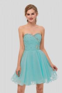 Elegant Short Mini A Line Sweetheart Crystal Beaded Turquoise Chiffon Prom Cocktail Dress