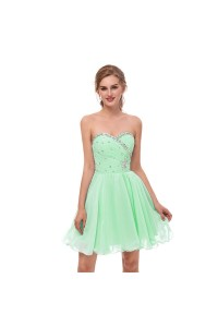Elegant Short Mini A Line Sweetheart Crystal Beaded Mint green Chiffon Prom Cocktail Dress