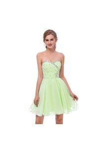 Elegant Short Mini A Line Sweetheart Crystal Beaded Lime Green Chiffon Prom Cocktail Dress