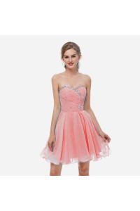 Elegant Short Mini A Line Sweetheart Crystal Beaded Watermelon Chiffon Prom Cocktail Dress