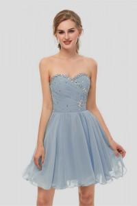 Elegant Short Mini A Line Sweetheart Crystal Beaded Dusty Blue Chiffon Prom Cocktail Dress
