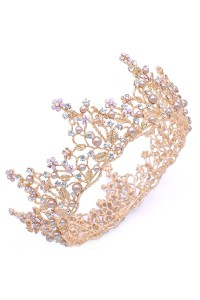 Beautiful Gold Alloy Pink Rhinestone Wedding Bridal Tiara Crown With Pearls