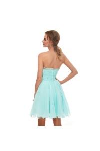 Elegant Short Mini A Line Sweetheart Crystal Beaded Aqua Chiffon Prom Cocktail Dress