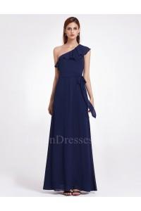 Elegant One Shoulder Navy Blue Chiffon A Line Prom Bridesmaid Dress With Ruffles And Sash