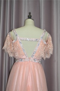 Romantic Crystal Beaded Peach Prom Evening Dress V Neck Cold Shoulder