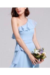 Elegant One Shoulder Ruffle Light Blue Chiffon A Line Prom Bridesmaid Dress With Sash