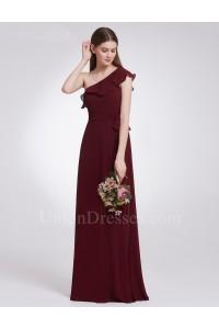 Elegant One Shoulder Burgundy Chiffon A Line Prom Bridesmaid Dress With Ruffles And Sash